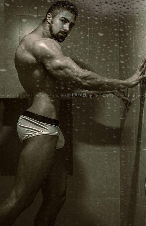 Hot male models shower