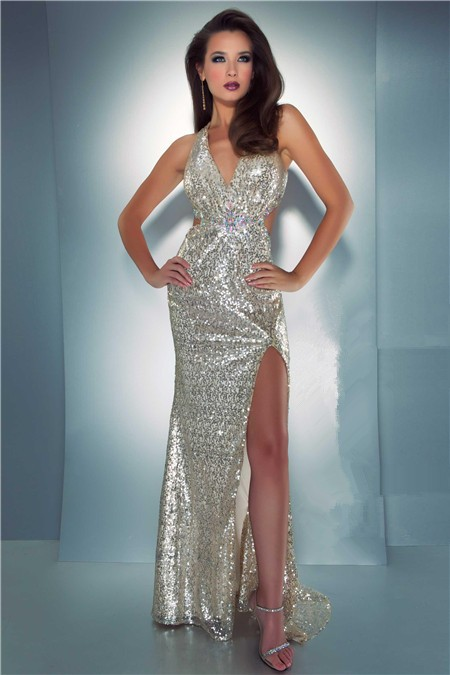 Sexy long sequin prom dress