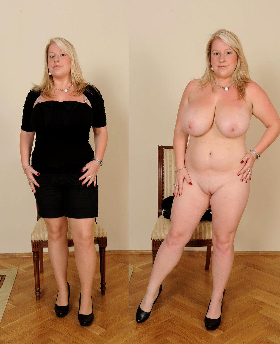 Undressed dressed blonde milf