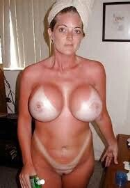 Blonde milf big tits tan lines