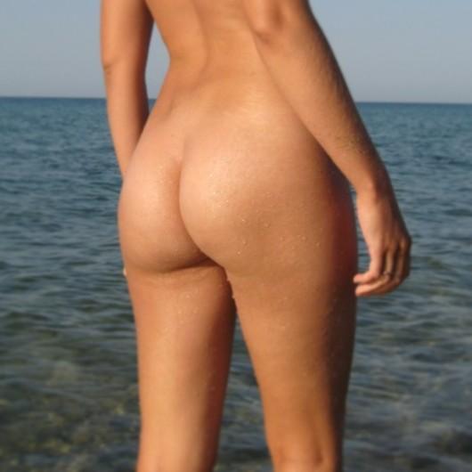 Nude beach nudist girl butt