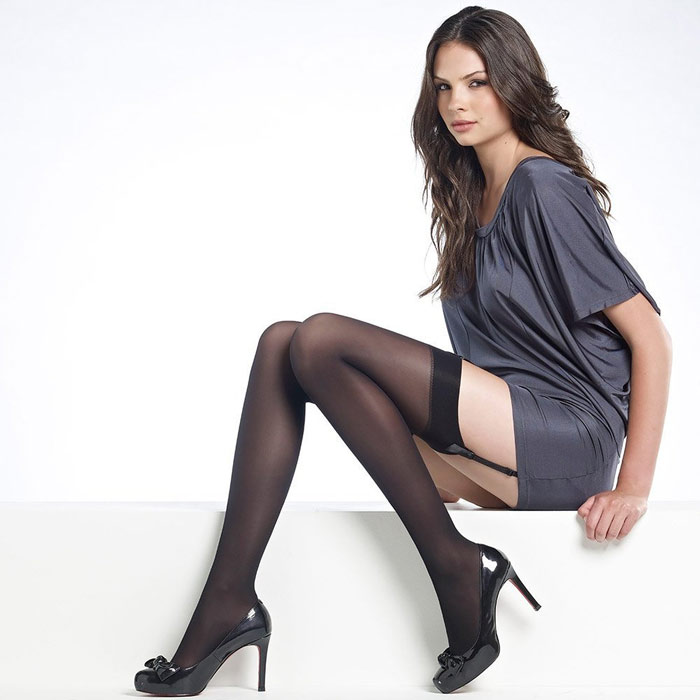 Women wearing only stockings