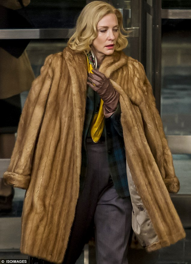 Lesbian fur coat smoking