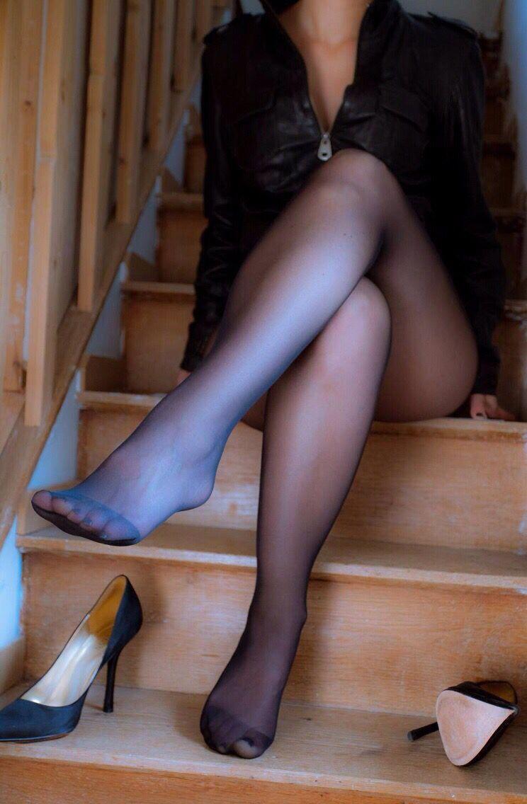 Wife sheer nylon feet