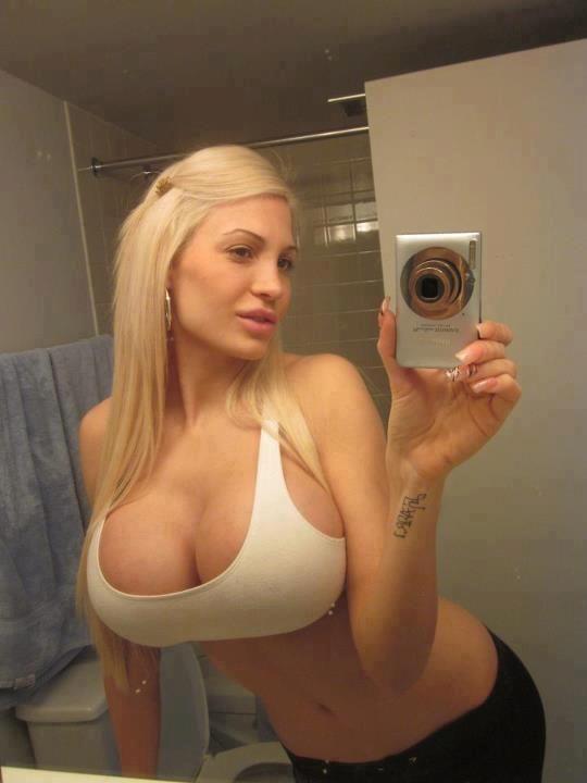 Hot blonde self shot big boobs