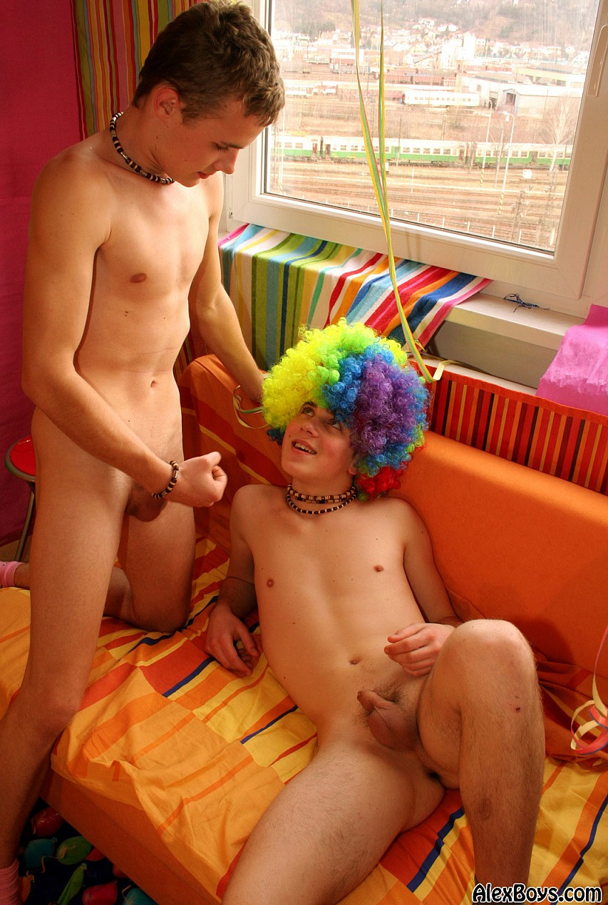 Nude boy playing naked