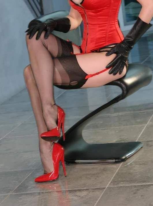 Bondage high heels and stockings