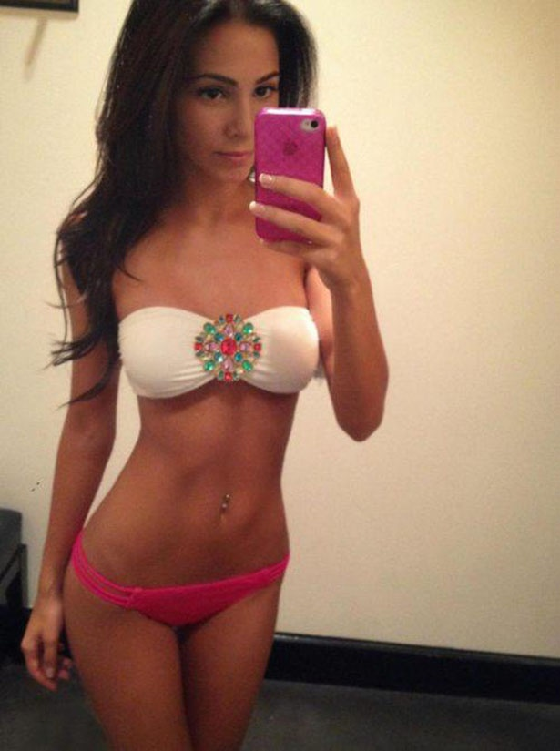 Young perfect body teen girl selfie
