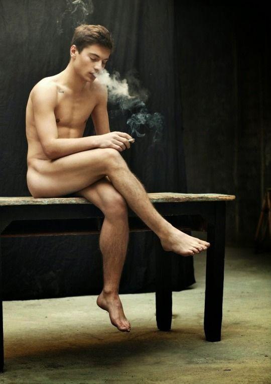 Naked gay hunks smoking