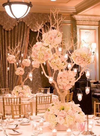 centerpiece tree Manzanita wedding