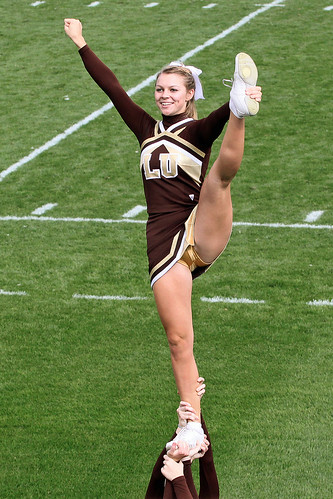 College cheerleaders candid