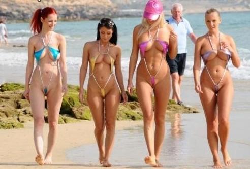 Micro bikini beach pussy