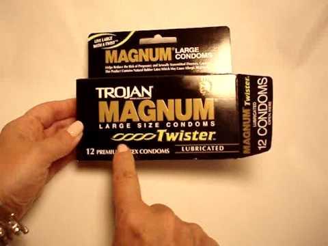 Trojan magnum condom on penis