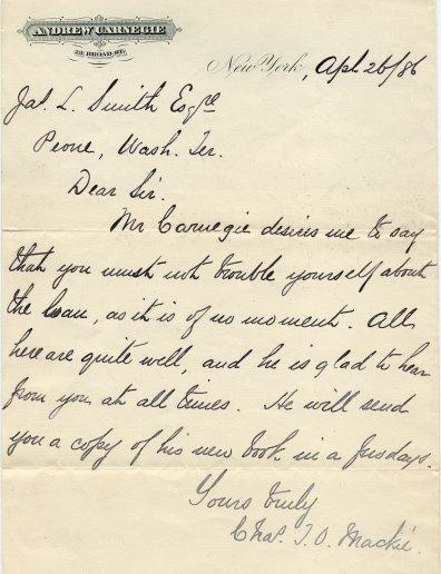 carnegie written letter Andrew
