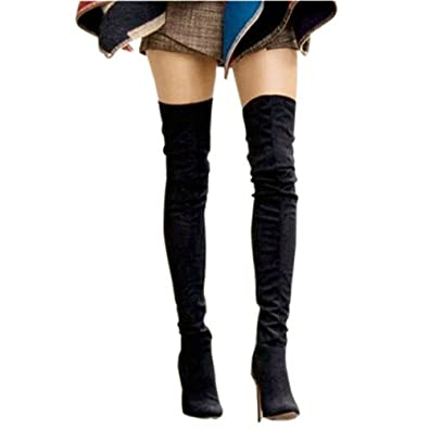 Thigh high leather boots