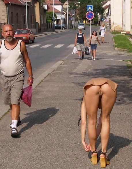 upskirt nude Public