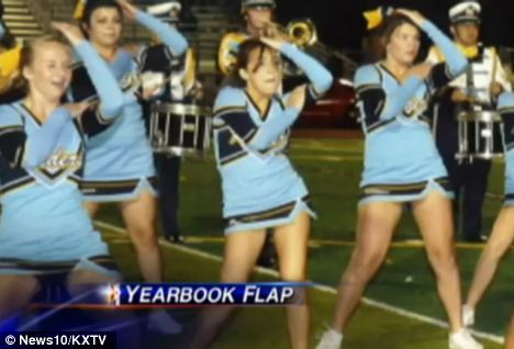 candid College cheerleaders