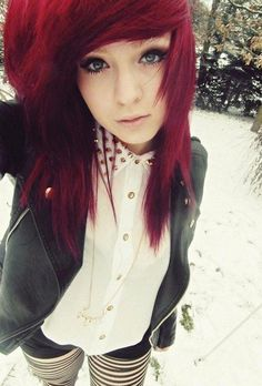 hair girl Black emo with red