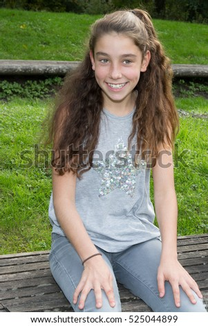 brunette smiling girl Young teen