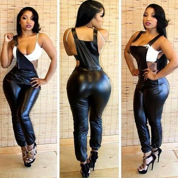Sexy black girl in leather suit pictures
