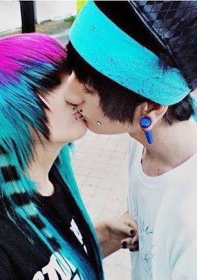 Cute emo couples kissing