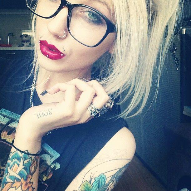Blonde tattoo pierced fake
