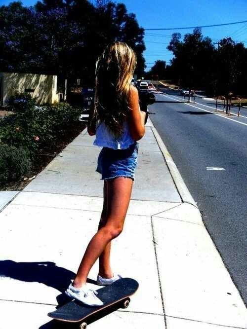 Cute girl on skateboard