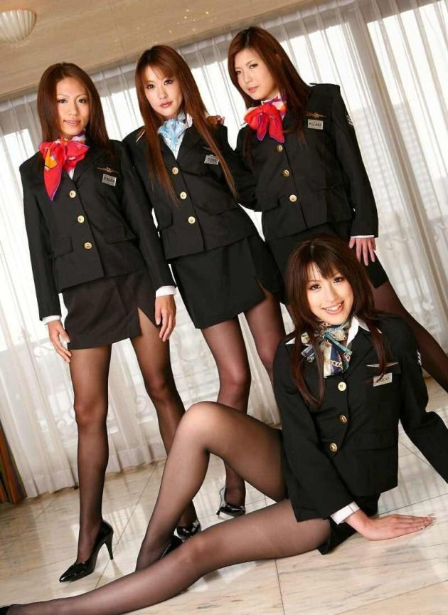 Asian flight attendant orgy