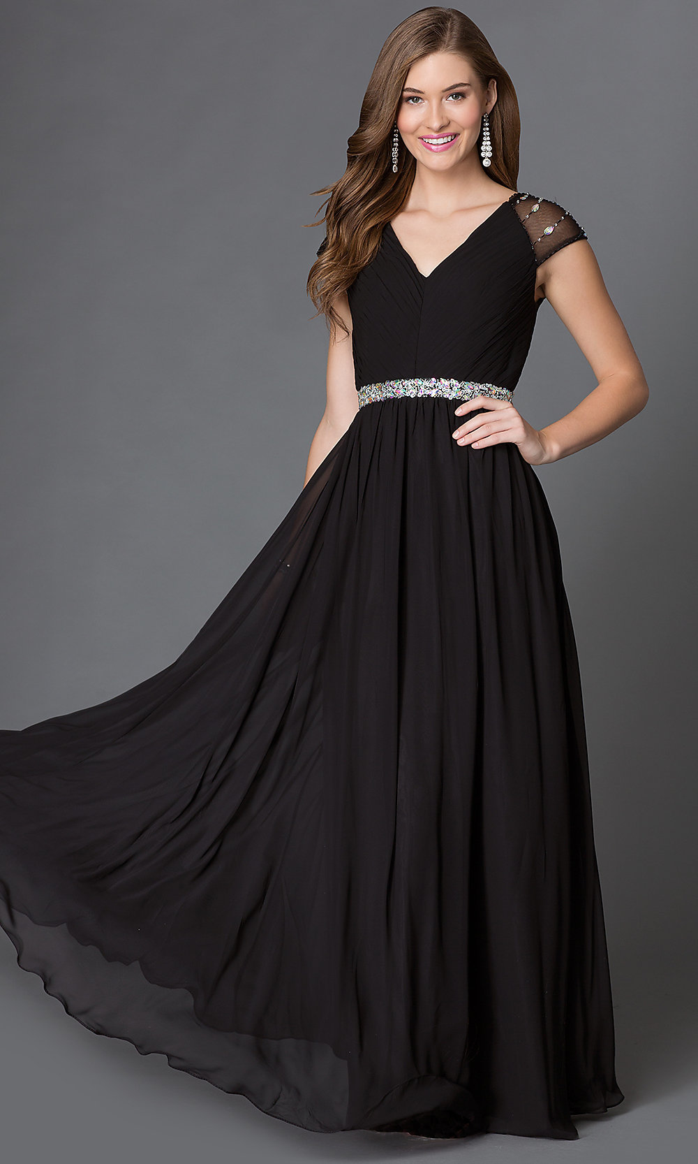 Long black evening dress with sleeves