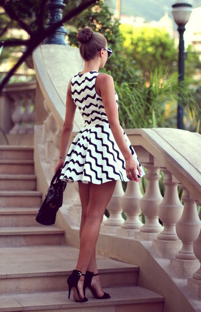 Black and white dress high heels