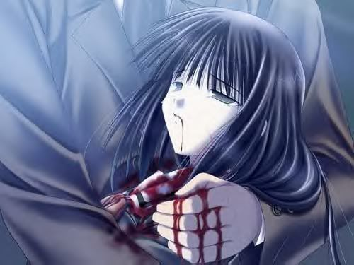 Dying anime girl with black hair