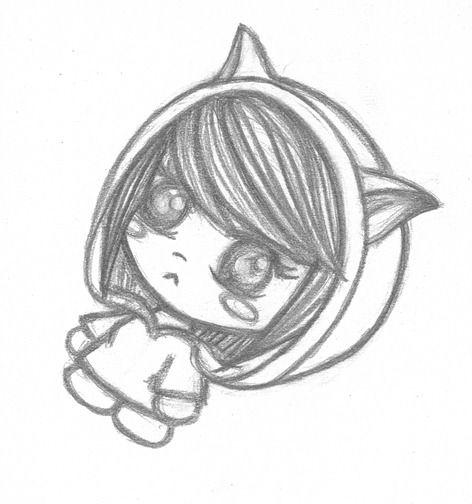 Cute anime girl pencil drawing