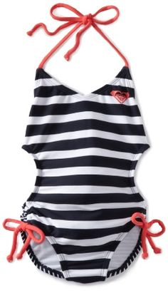 Young teen girl one piece swimsuit strip