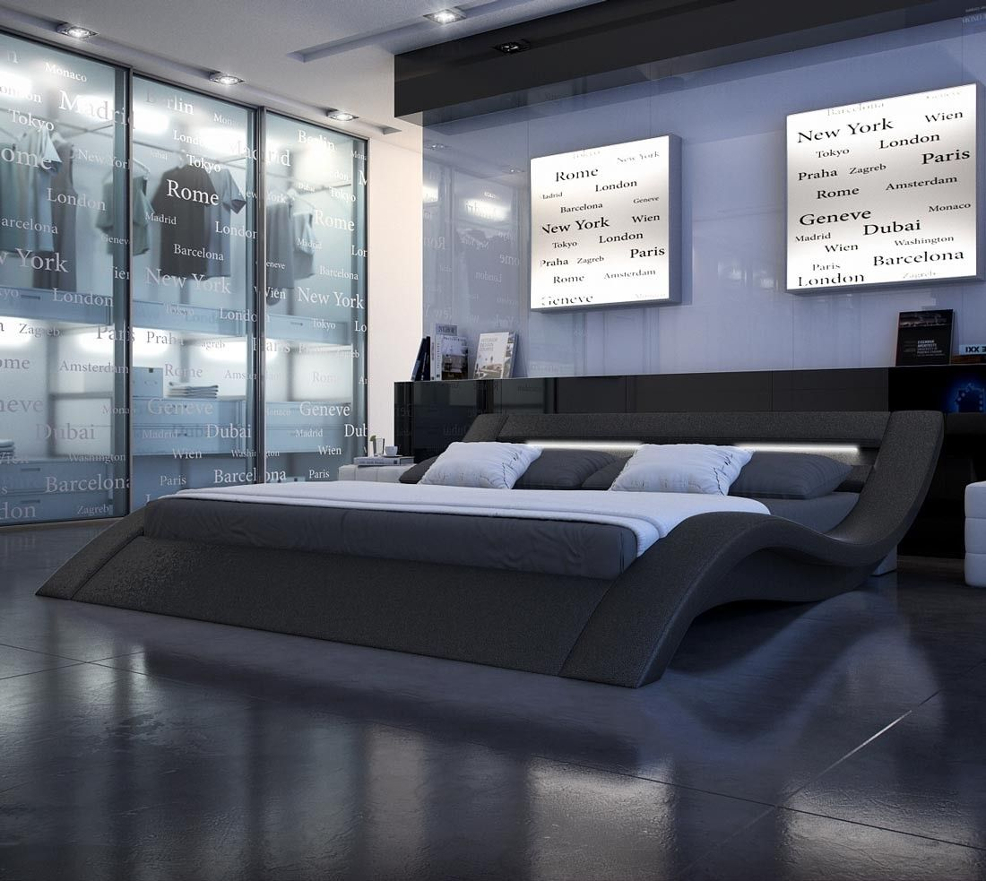 Black modern king size platform bed