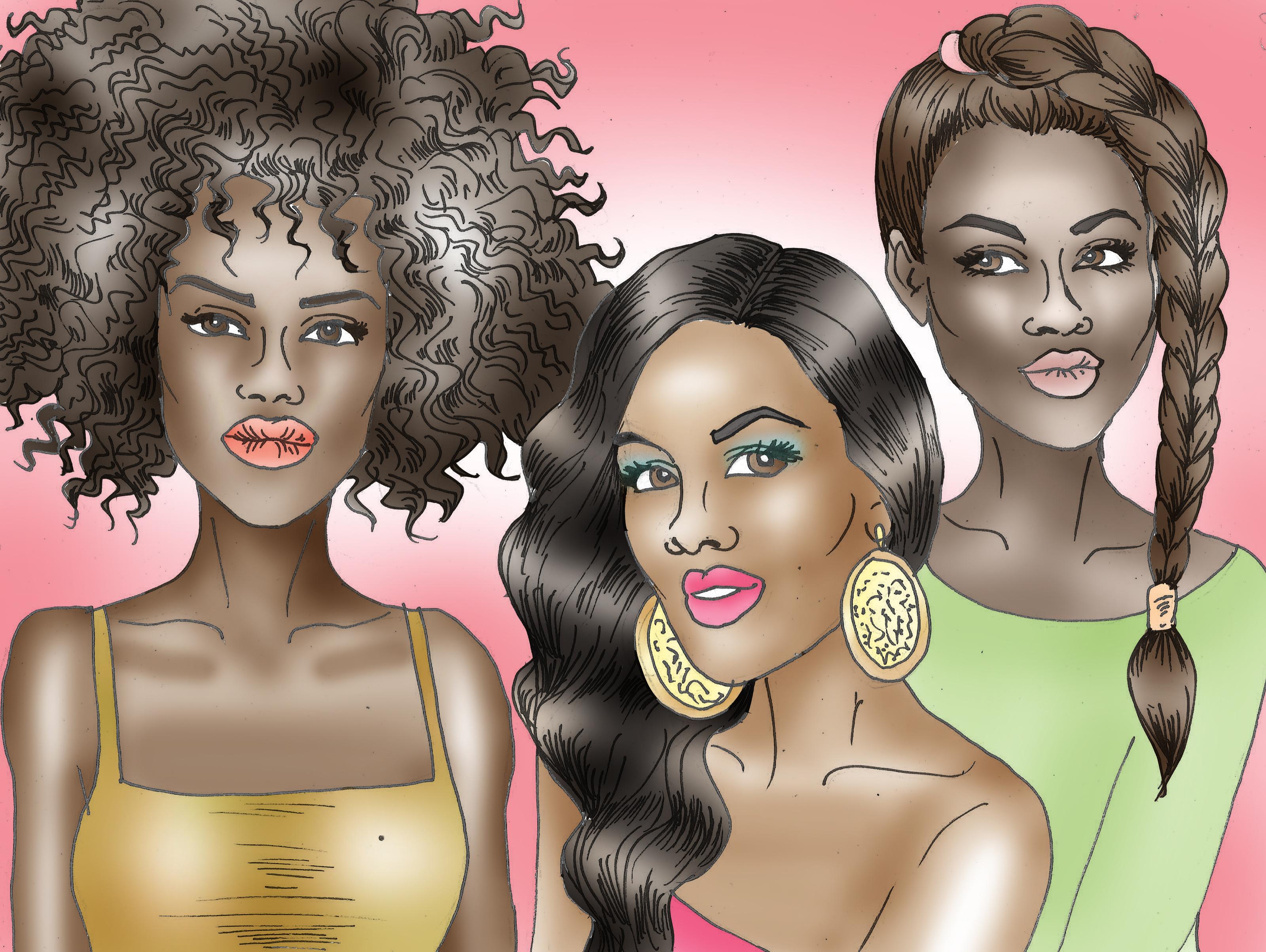 Young black teen girls rough