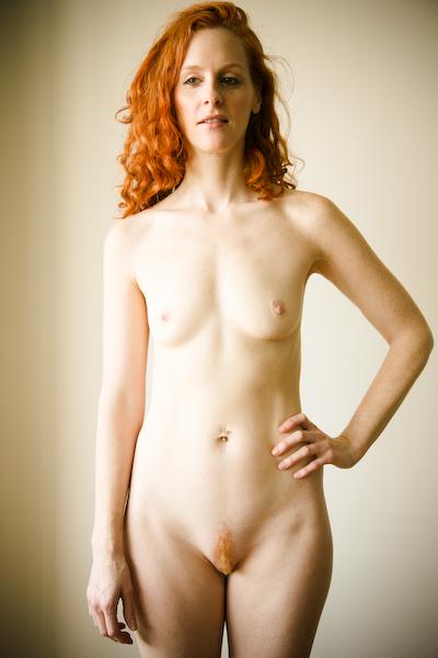 Hairy redhead nude woman