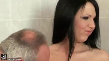 Hot girl fucks old man