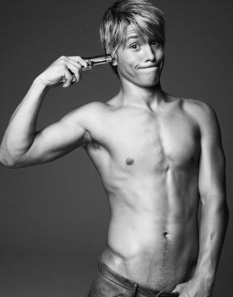 Shirtless boy models