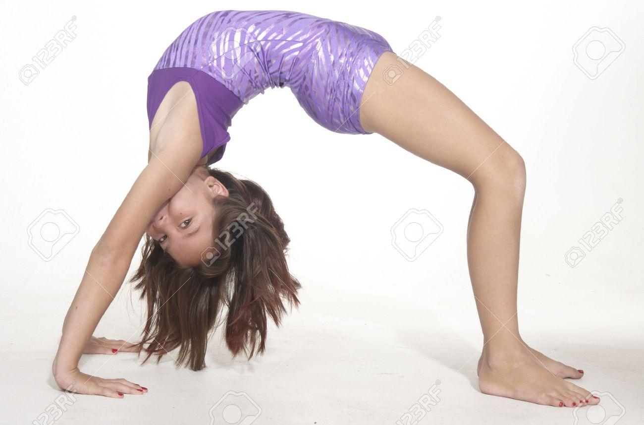 Model young teen girl bent over