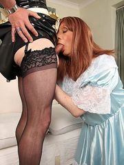 Sissy maid sucks cock