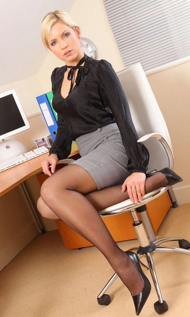secretary Black stockings legs