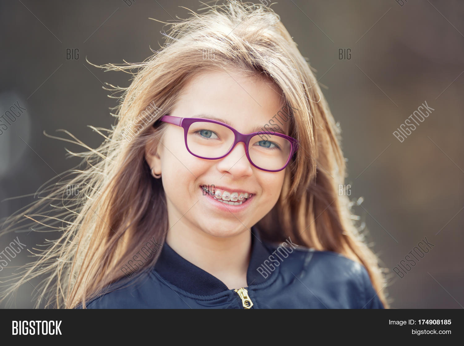 Cute teen girl with glasses