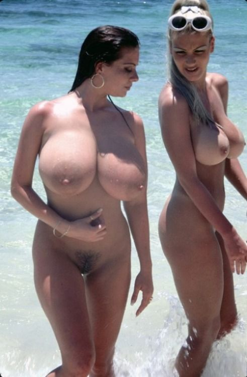 Big boobs on beach