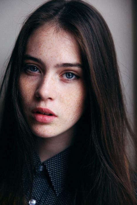 girl with freckles Brunette