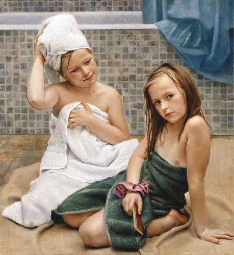 Young teen girls group shower