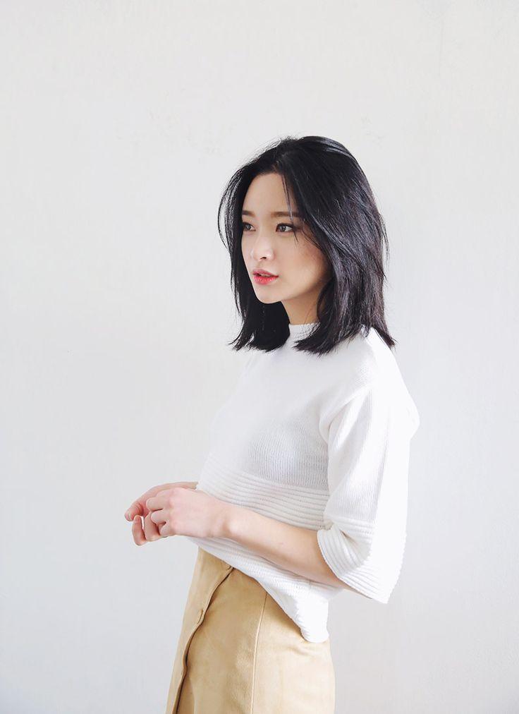 Sexy brunette short hair asian