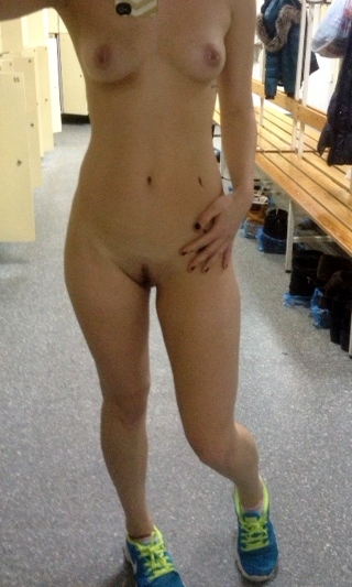 Naked changing room selfie girl