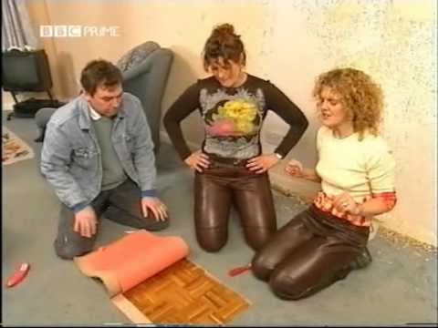 Young teen girls in tight leather pants