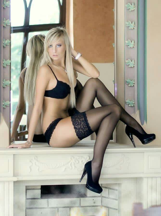 Sexy blonde lingerie stockings