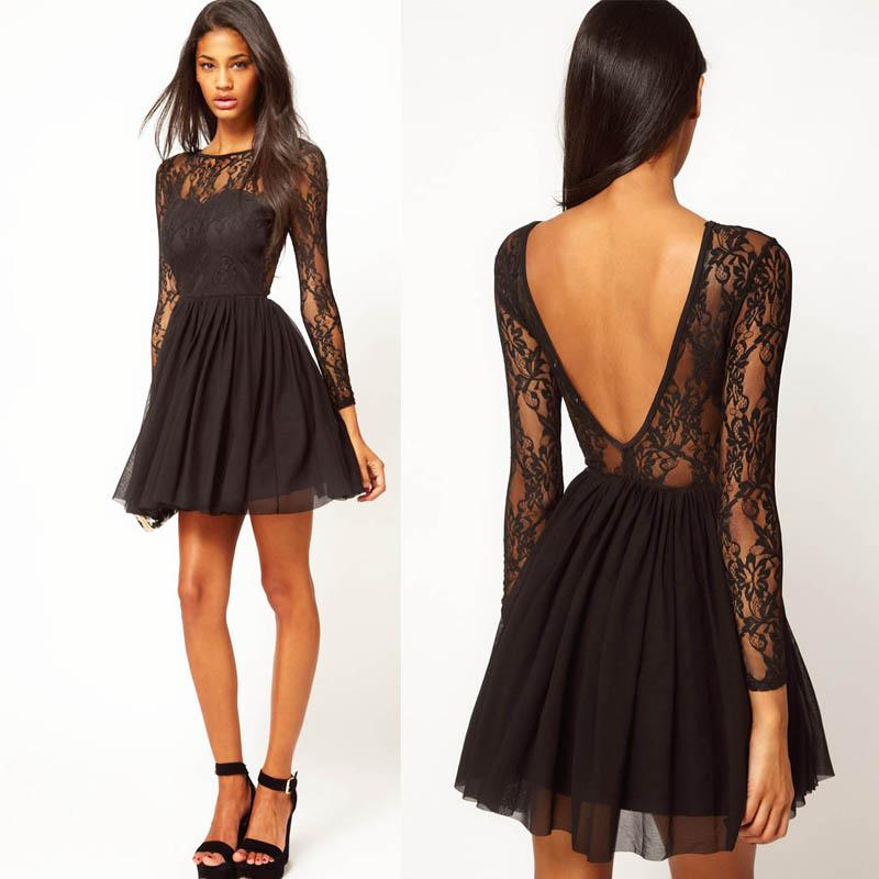 Short black dress with lace and champagne